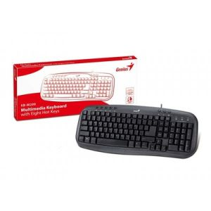 Клавиатура Genius KB-M200, Black - мултимедийна USB клавиатура; 8 функционални бутона; Нископрофилни тихи бутони