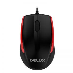 Mишка Delux M321BU черно-червена USB